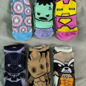 6 pairs women's Avengers shorty socks